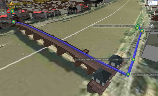 OpenLS Route Service enables 3D-Routing with height profile and animation – including routes over bridges
